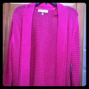 NWT Hot pink/rose open weave cardigan size L